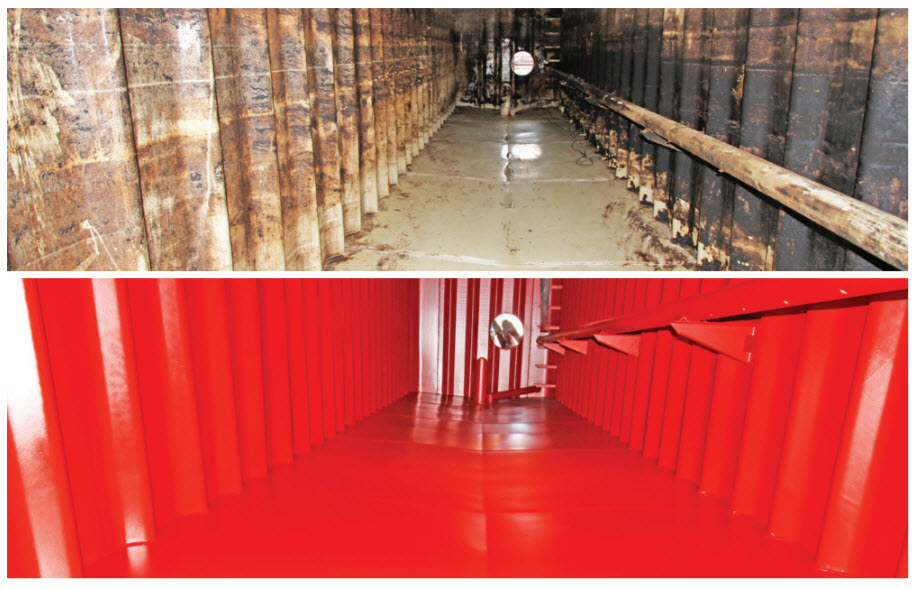 Before - after shot chemical tank